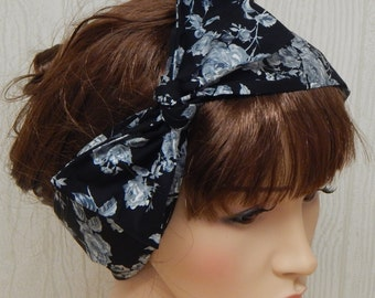 Vintage Style Headband, Tie Up Head Scarf, Gothic Roses Hair Scarf, Retro Hair Wrap, Women's Headband