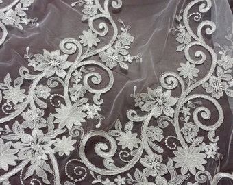 Ivory lace fabric, Embroidered lace, French Lace, Wedding Lace, Bridal lace, White Lace, Veil lace, Lingerie Lace, Alencon Lace by the yard