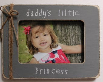 Daddy's Little Princess Picture Frame Daddy Picture Frame Gray Photo Frame Princess Picture Frame