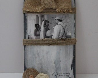 Rustic Wedding Frame, White Distressed Photo Frame, Wedding Picture Frame