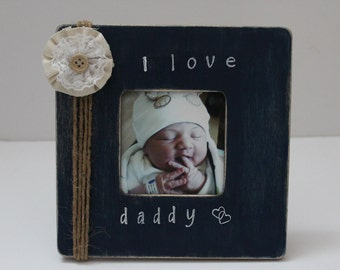 Daddy Picture Frame, I Love Daddy Photo Frame, Dad Gift, Navy Blue Photo Frame
