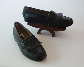 Nun Bush Loafer Slip Ons - Men's Shoes Black Leather with Brush off shawl, Size 8.5 M