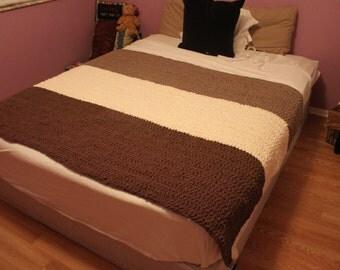 Homemade Color Block Crocheted blanket