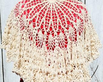 Crochet lacy shawl, handmade Victorian shawl, ecru or bone women's wrap, beige lace pineapple wrap, costume accessory, gift for her