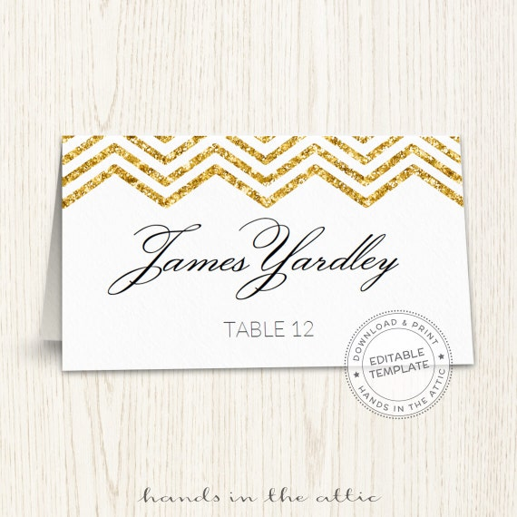 Editable wedding place cards, gold chevron, printable seating cards ...