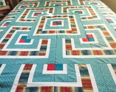 Modified 9 Patch Quilt Top - Turquoise, Burgundy, Cream, and Brown