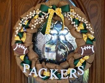 Green Bay Packers NFL Burlap Wreath