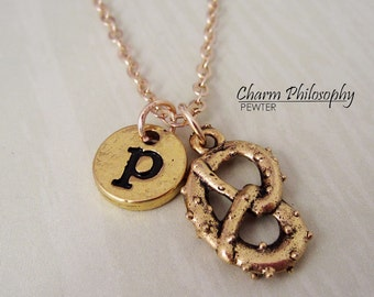 Gold Pretzel Necklace - Initial Necklace - Antique Gold Pewter Jewelry - Pretzel Charm