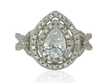 Pear Shaped Engagement Ring - 40% off - OFFERS CONSIDERED - CZ Double Halo Ring with Twisted Shank and Tiny Filigree Detail - LS4454