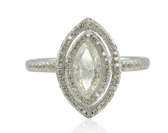 Marquise Engagement Ring - 20% off - OR BEST OFFER - Marquise cut Ring with Genuine Diamond Double Halo - On Sale from Laurie Sarah - LS4488