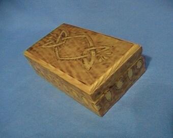 Celtic trinket box, woodburned design
