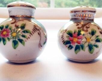 Vintage Floral Porcelain Salt and Pepper Shaker Set circa 40's
