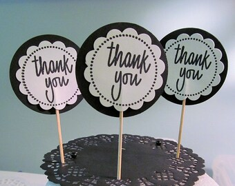 Thank You Cupcake Toppers, Food Picks, Dessert Bars, Baby Showers, Birthday Parties, 12ct Package, Wedding Favors