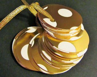 Elegant Round Gold Foil Gift Tags -  Designer Tags -  Gift Tags - Quantity of 40 - Favor Tags - Bridal tags - Price tags - Print Design -