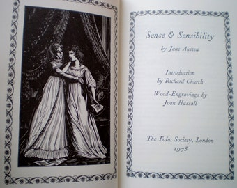 Sense and Sensibility by Jane Austen - Published by The Folio Society, London - Illustrated with Wood-Engravings by Joan Hassall - 1997