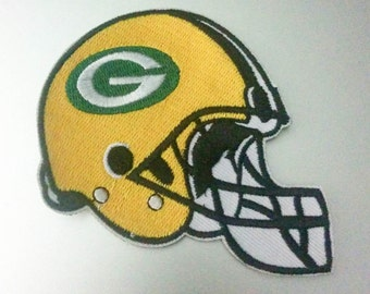 """Green Bay Packers Helmet Iron On Patch 3 1/4"""" x 2 7/8"""" Football Logo Free Shipping"""