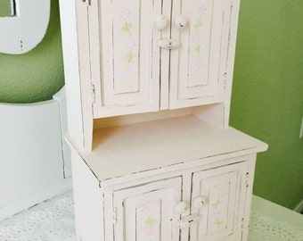 Beautiful Doll Cabinet Pale Pink Chalk Paint Distressed Shabby Chic Cottage Chic