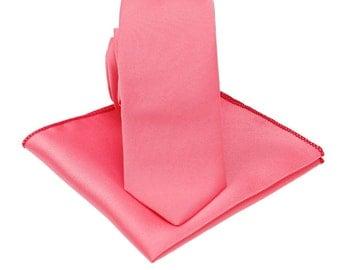 Coral Silk Tie. Mens Neckties.Coral Tie for Wedding.Silk Skinny Ties.Groomsmen Tie.