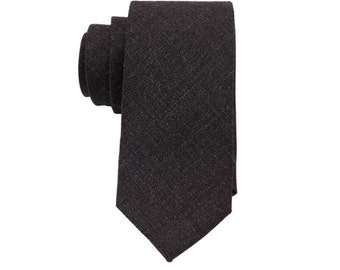 Charcoal Wool Ties.Charcoal Ties for Men.Wool Neckties.Skinny Wool Neckties