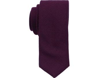 Dark Purple Wool Ties.Purple Wool Neckties.Skinny Wool Neckties.Mens Gifts.Tie for Winter