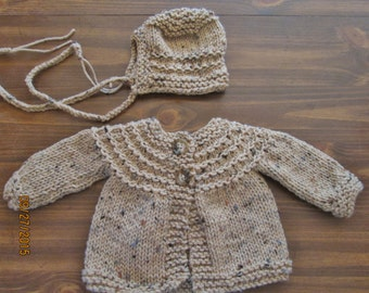 light brown tweed 0-3 month cardigan and bonnet