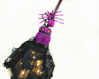 Purple Witch's Broom with Owl and Spiders, Home Décor, Door Hanger, Wall Hanging, Holiday Wreath