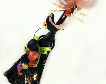 Black, Orange, Purple and Pink Witch's Broom with Bells, Home Décor, Door Hanger, Wall Hanging, Holiday Wreath