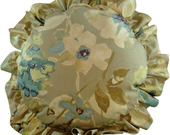 Round Pillow with Flowers and Ruffles, Ruffled Pillow, Throw Pillow, Home Dec Accessory, Bedroom or Couch Pillow, 18 x 18, 20 x 20, Cushion