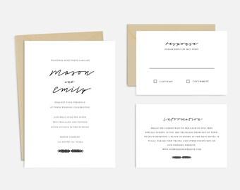 DIY Printable Wedding Invitation Suite - Instant Download! | Simple Chic Black & White Wedding Invitations | DIY Wedding Invitation
