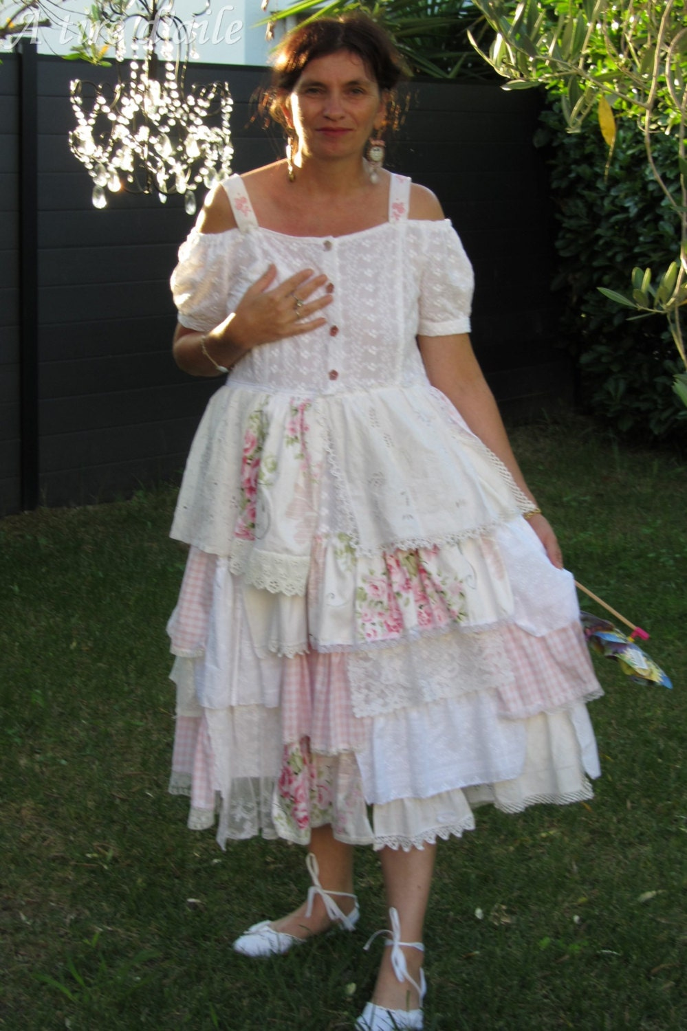 Robe Volants Rose Et Blanche Avec Imprim S Shabby By Atiredaile