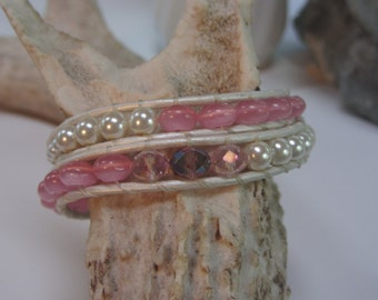 Chan Luu Style Beaded Leather BoHo Double Wrap Bracelet in Pearl and Pink