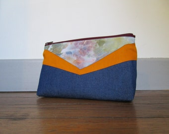 Makeup bag/ Organizer Ice dye {Denim Mustard yellow Burgundy}