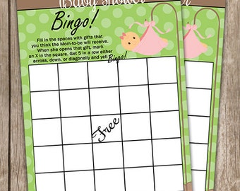 Baby Girl Bingo, Baby Shower Bingo, Baby Shower Games, Baby Bingo, Baby Bingo Baby Shower Game, INSTANT DOWNLOAD Digital File