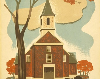 See America Poster for Philadelphia, Poster promoting tourism, showing the Old Swedes Church in Philadelphia, Pa.  Reproduction Poster.