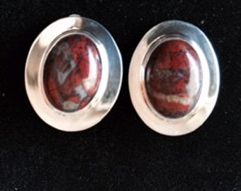Picture jasper and sterling silver clip earrings