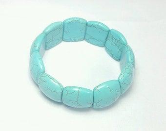 Turquoise bracelet, Howlite bracelet, bohemian stackable bracelet, turquoise  bracelet, tackable bead bracelet, blue bracelet