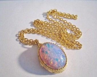 Faux Opal Vintage Perfume Glaze Necklace Signed Fort