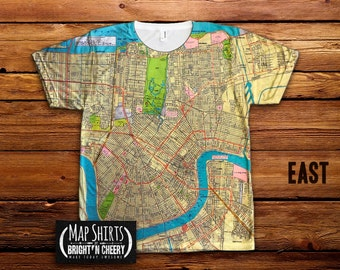 1957 Vintage New Orleans Map TShirt, All Over Print Shirt, Louisiana Tee, metairie map shirt, Mississippi River, Lake Pontchartrain map tee