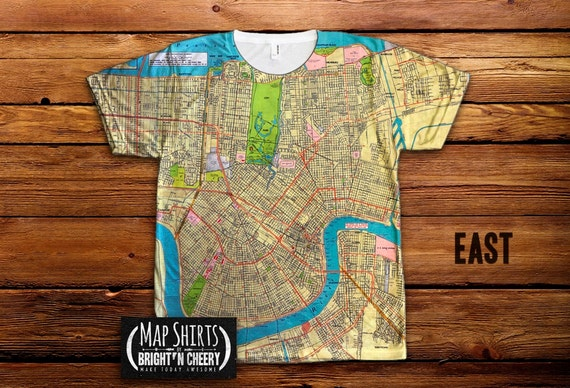 1957 vintage new orleans map tshirt all over print shirt for Shirt printing new orleans