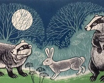 Someone's There, Lino Print, Badger card, Rabbit and Badger card, blank card, Woodland card, every occasion card, Magical card,card for all