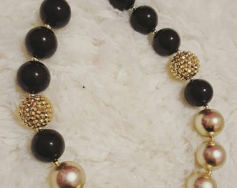 Black and Gold chunky bead necklace.