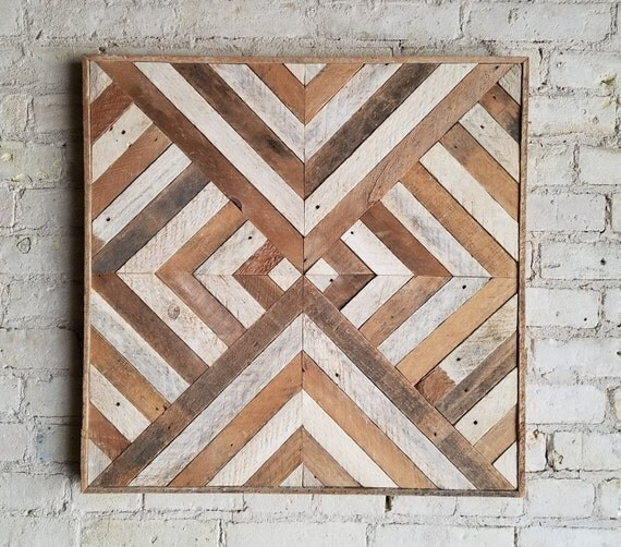 Reclaimed Wood Wall Art, Decor, Lath, Triangle Diamond Geometric