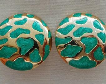 Earrings - earrings Balenciaga vintage green enameled gold metal