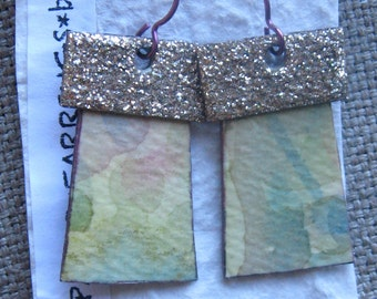 paper*earrings* hand painted*gold sparkles