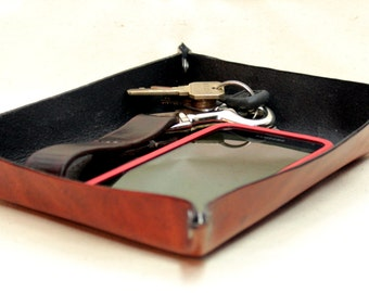 Leather Valet Tray / Leather Catchall / Leather Tray / Leather Travel Valet Tray