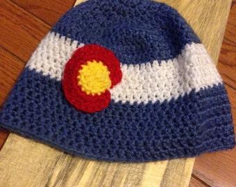 Classic Colorado flag beanie hat light blue