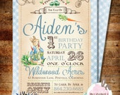 Printable Peter Rabbit 1st Birthday or Baby Shower Invitation