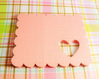 "Pink Gift Tags - Scalloped gift tag with heart cut out - 18 gift tags 3.5"" x 2.75"" each"