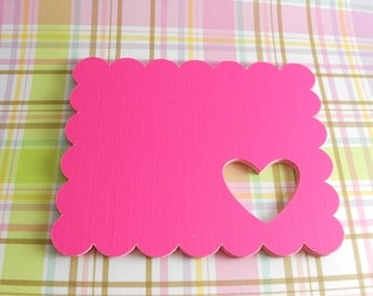 "Hot Pink Gift Tags - Scalloped gift tag with heart cut out - 18 gift tags 3.5"" x 2.75"" each"