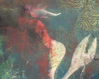 Mermaid  monoprint  unframed  original  art